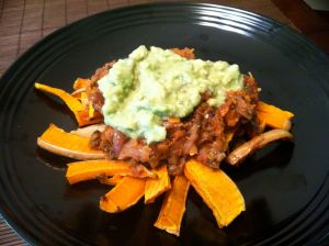 "Chili ""Fries"" with Avocado Sauce"