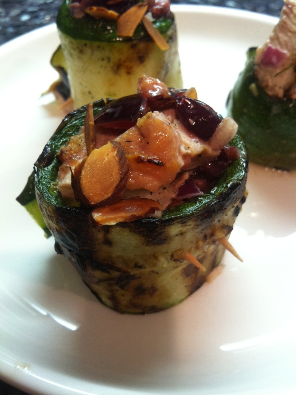 Recipe: Grilled zucchini roll ups with cherry amond chicken salad