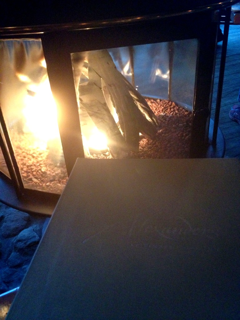menu and fireplace