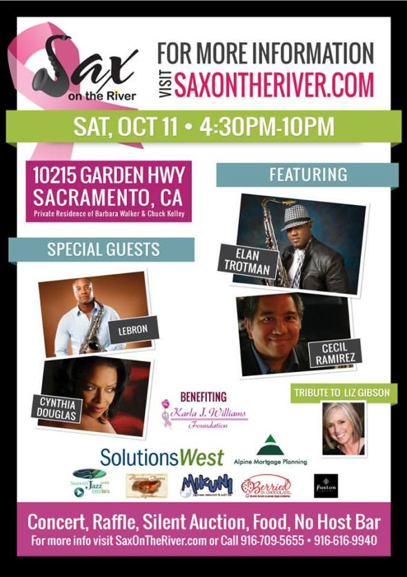Sax on the River, a benefit for the Karla J. Williams Foundation is Saturday, October 11, 2014