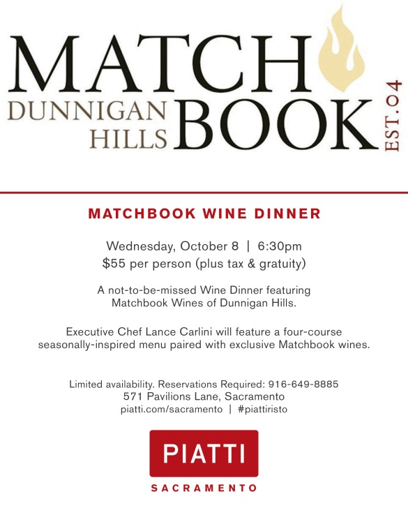 Farm to Fork Wine Dinner Series: Piatti Presents Matchbook on Wednesday, October 8th!