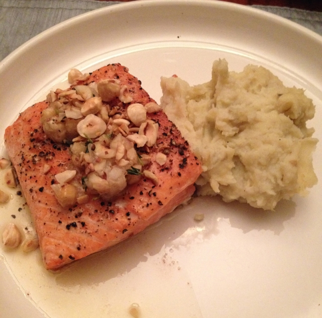 Salmon with Hazelnut Shallot Butter and a Cauliflower Sweet Potato Mash
