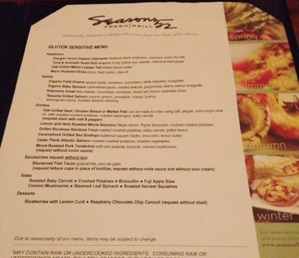 Seasons 52 Gluten Free Menu