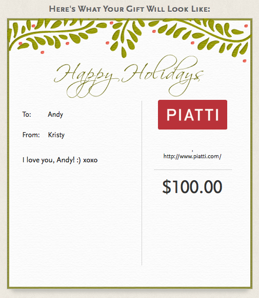 12 Days of Christmas Picks for the Food and Wine Lover: Piatti eGiftcards