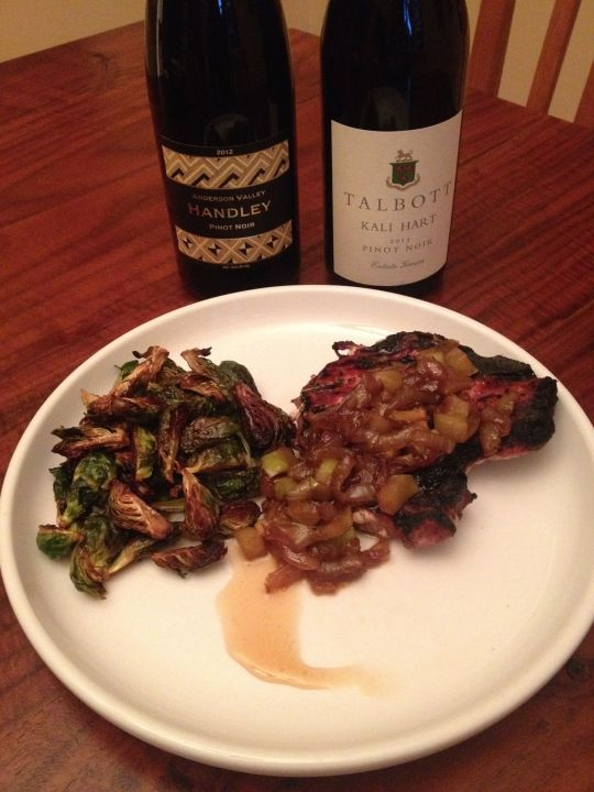 Flights By Night #3: Pork Chop with Apple Gastrique and a Duo of Pinot Noir