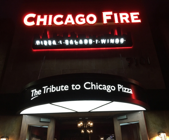 front signage night