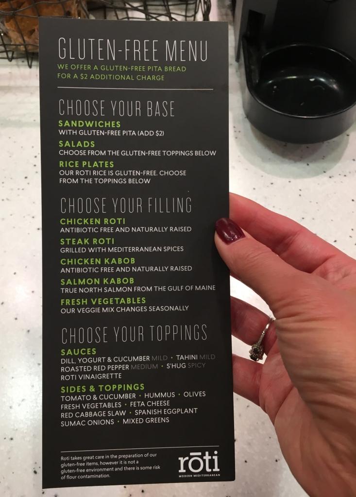 menu from roti