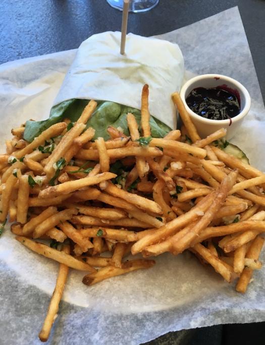 pork burger and fries