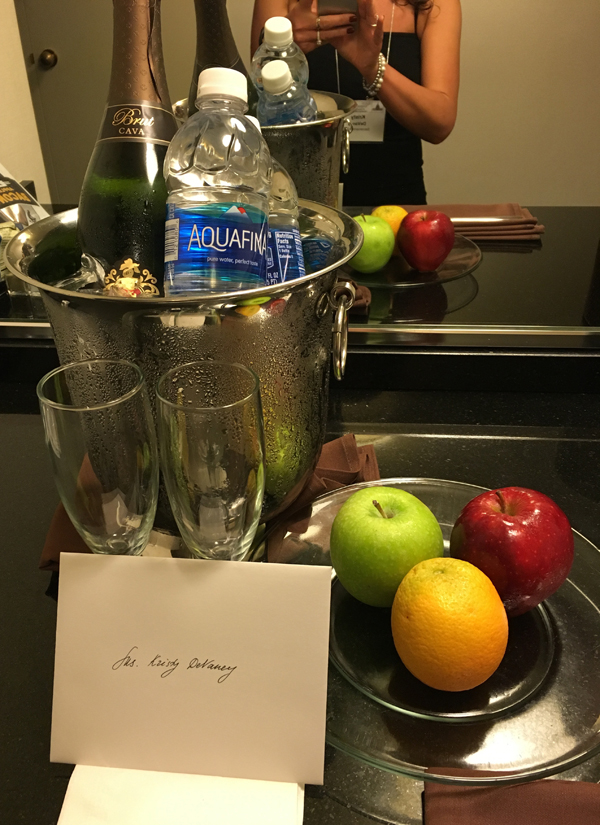 wine and fruit from hotel