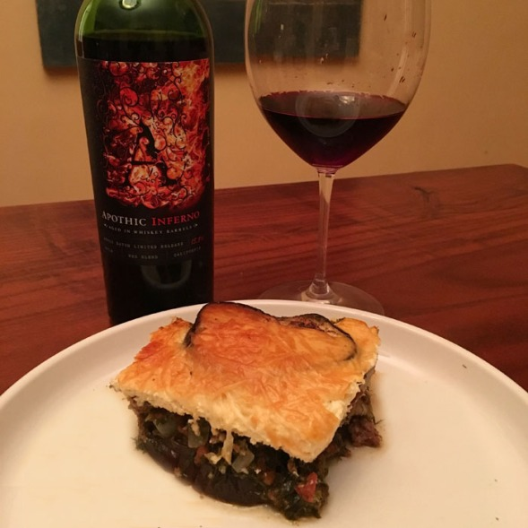 moussaka-and-wine
